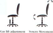 gas lift and syncro movement adjust height and rake